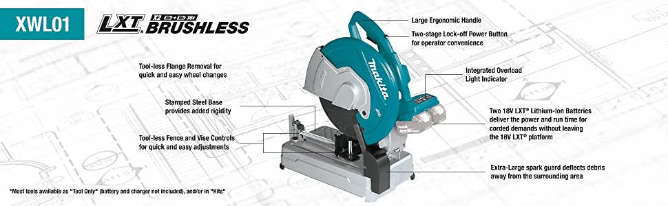 xwl01 lxt x2 brushless tool less cordless callouts feature benefits points handle battery base carry