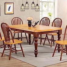 farmhouse table,traditional,turned legs,oak finish,walnut,nutmeg,warm chestnut,oak furniture,solid