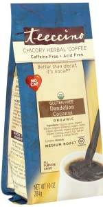 Teeccino Dandelion coconut Herbal Coffee can be brewed like coffee in any kind of coffee maker