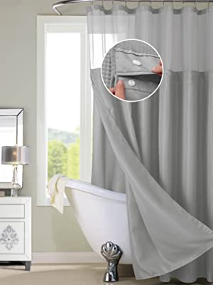 complete shower curtain hookless detachable liner