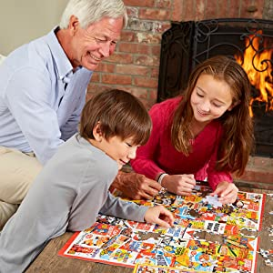 Grandfather doing puzzle with kids