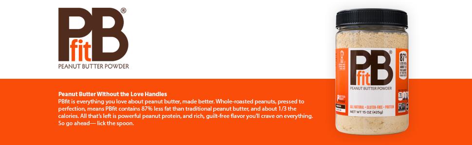PBfit Peanut Butter Powder 15oz 87% less fat 1/3 the calories protein vegan gluten free