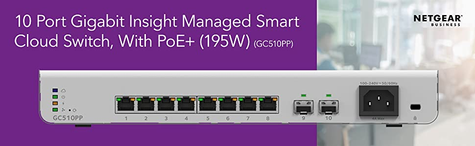 10 port gigabit insight managed smart cloud switch with poe+ 195w gc510pp
