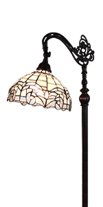 Tiffany Style Floor Lamp Jeweled Reading Standing Antique Vintage Stained Glass Living Bedroom