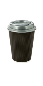 Disposable black paper coffee cups with 12 oz capacity. Take coffees, teas, hot drinks to go