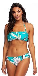 bandeau bra bikini swimsuit top removable neck shoulder strap boat neckline busty cute eye catching