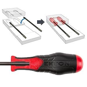 Tekton screwdriver insert molded handle