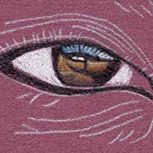 Use (FC) Black to draw the outline around the eye and add the lash reflections on the blue highlight