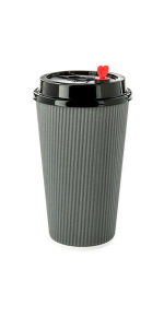 Use these gray paper coffee cups to serve large drinks to go. Insulated to keep hands cool!