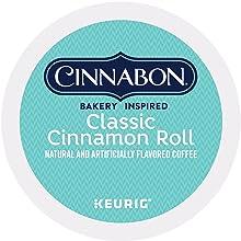 cinnabon cinnamon roll k-cup pods, keurig kcups, k cup coffee, coffee pods, keurig, kuerig