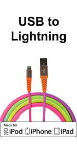apple ligtning colorful mfi  cord fast charging  sync cable