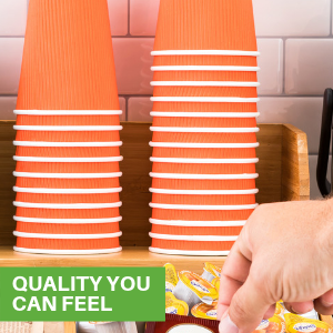 Orange to go coffee cups in a coffee cup holder. Insulated coffee cups are great for offices