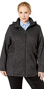 Plus Size Zip Front Hooded Jacket