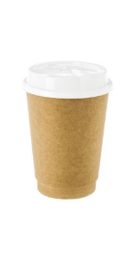 Brown paper coffee cups with insulation. No sleeves are needed to take coffee to go.