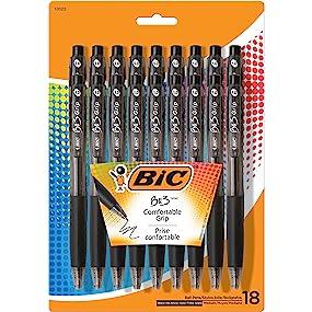 18 BIC BU3 Grip Retractable Ball Pens, Medium Point (1.0mm), Black
