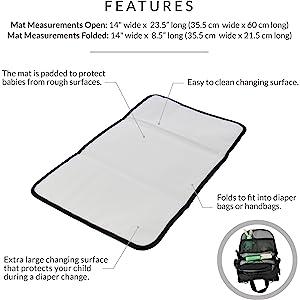 changing mat, diaper mat, changing pad, diaper bag