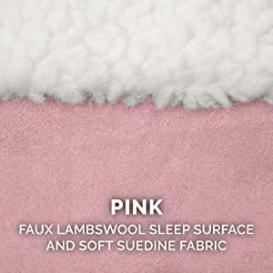 sleep surface; sherpa; fleece; sheepskin; suede; pink; strawberry; white