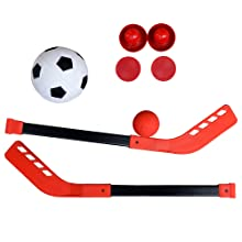 hockey sticks and soccer balls for kids game table