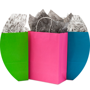 Paper gift bags with stiff handles in bright green, pink and blue for friends, coworkers and kids