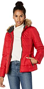 Warm Winter Jacket with Faux Trimmed Hood