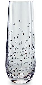 silver confetti chamagne flutes wine glasses drinking glassware by circleware