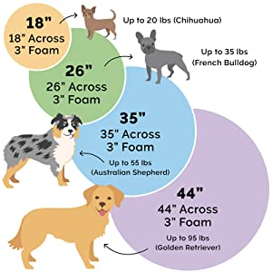 small; medium; large; extra large; jumbo; bed; size chart; dimensions