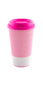 These pink paper coffee cups have a stylish look and built-in insulation to serve hot drinks to go.