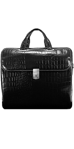 "Black 13"" Leather Tablet Briefcase"