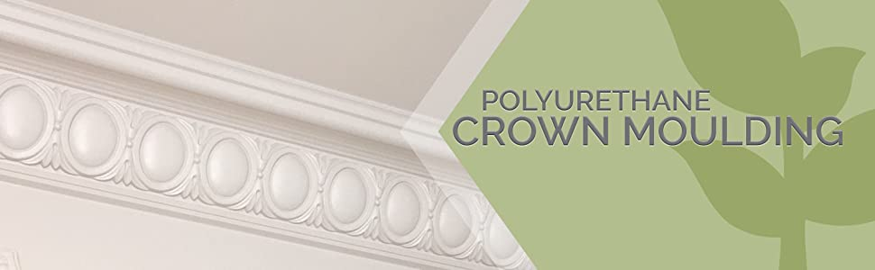 ornate circular pattern crown molding with description: Polyurethane Crown Molding