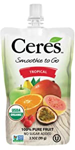 Tropical Smoothie on the go fruit blast go organic pouch