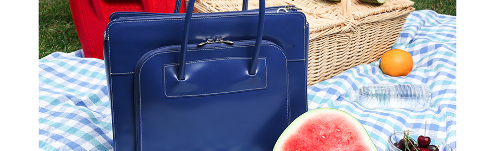 """Navy Spacious 15"""" Leather Ladies' Laptop Briefcase for travel leisure, picnics business"""