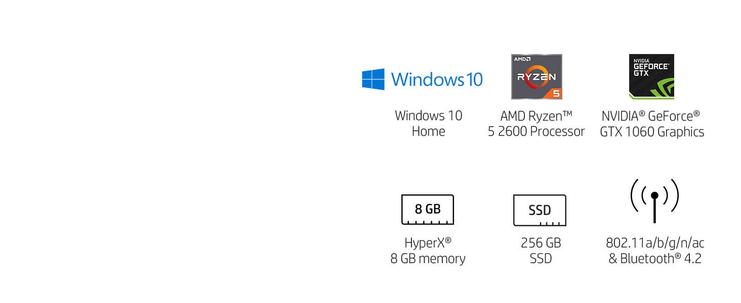 AMD Ryzen 5 2600 NVIDIA GeForce GTX 1060 HyperX SSD solid state drive bluetooth windows 10 home