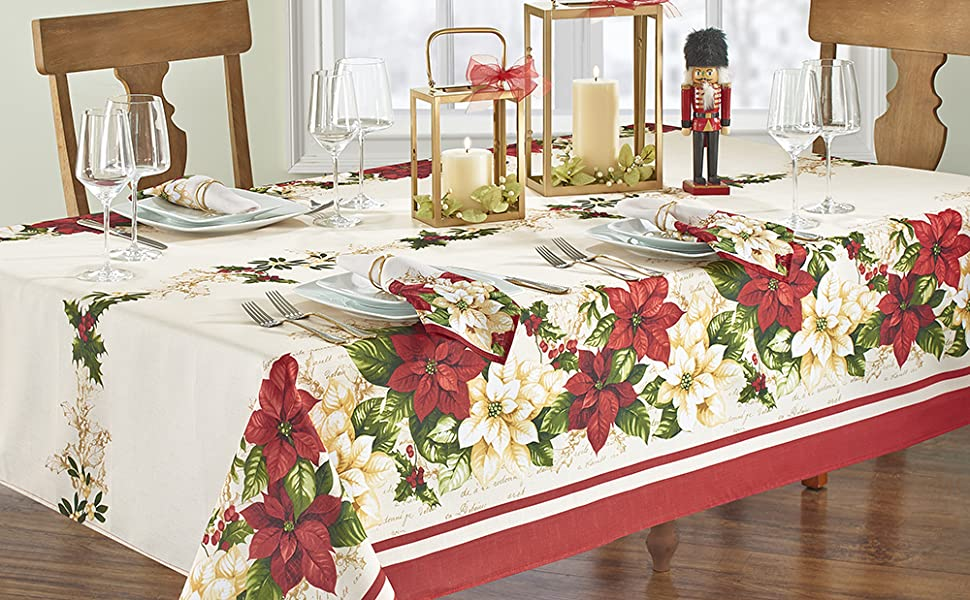 Elrene Home Fashions Red and White Poinsettia Holiday Rectangle Tablecloth