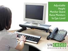 adjustable height ergonomic computer monitor riser holder mount