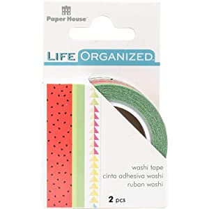 Paper House Productions Life Organized Summer Picnic Set of 2 Foil Accent Washi Tape Rolls