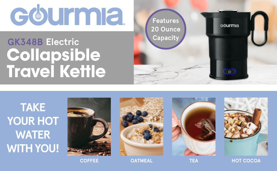Product image and features of the Collapsible Kettle from Gourmia.