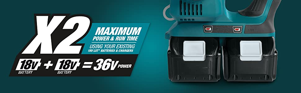 x2 maximum power run time using exisiting battery charger 18v 36v