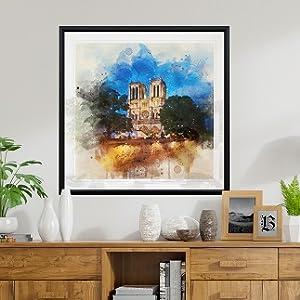 paris, notre dame, watercolor