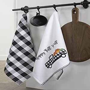 Elrene Home Fashions Happy Fall Y'all and Check Kitchen Towel Set