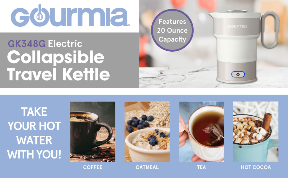 Product image and features of the Collapsible Travel Kettle from Gourmia.