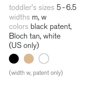 annie tap toddler sizes
