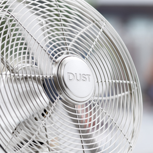 silver rotary fan with the word Dust in the center