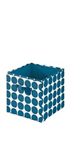 college dorm cube bin laundry sorter hamper organizer storage blue dots navy coral gray aqua teal