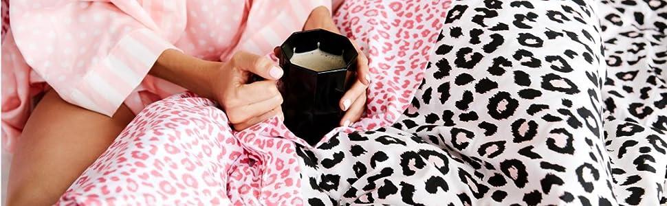 pink bedding;black bedding;animal print bedding;animal prints;Betsey Johnson;twin bedding;twxl