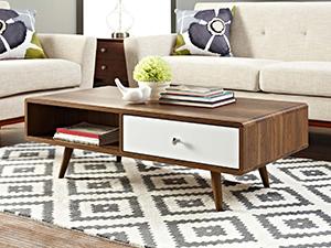 coffee table, table, living room, wood, modern, walnut grain