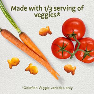 Alt text: Goldfish Veggie crackers with carrots and tomatos