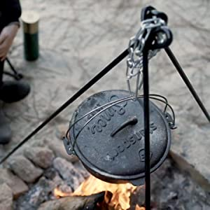 camp fire cooking tripod campout BBQ