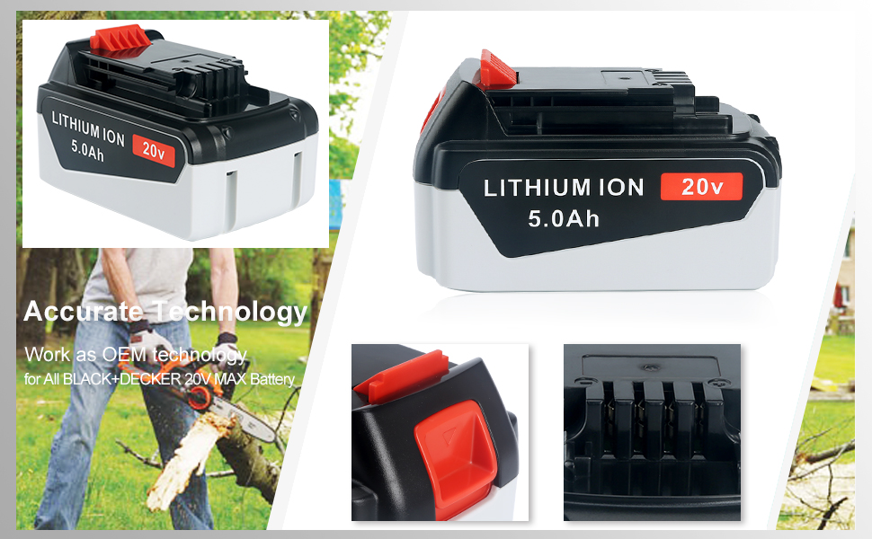 Biswaye 20v max lithium battery with Accurate technology in button and connector for BLACK+DECKER