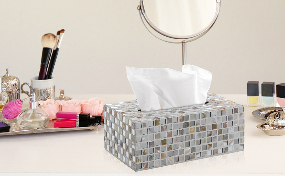 mirror mosaic tissue box cover displayed on a vanity with makeup and mirror displayed