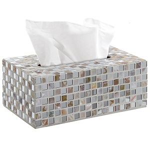 Mirrored glass mosaic rectangular tissue box holder cover